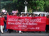 Students protesting against the program