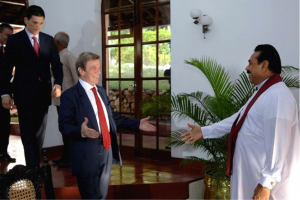 President Mahinda Rajapakse welcomes France's then Foreign Affairs Minister Bernard Kouchner for discussions on Sri Lanka's humanitarian issues in April 2009. Photo by Sudath Silva