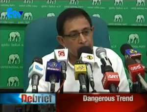 UNP Parliamentarian Kabir Hasheem at the Press Conference