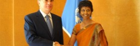 Ms. Tamara Kunanayakam presented her credentials to Mr. Kassym-Jomart Tokayev, Director-General of the United Nations Office in Geneva on the 9th of August 2011, accrediting her as Ambassador, Permanent Representative of Sri Lanka to the United Nations Office at Geneva and other International Organizations in Switzerland.