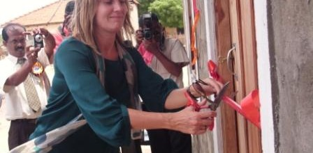 Photo shows Norwegian Ambassador Hilde Haralstad at an opening ceremony in Mullaitivu