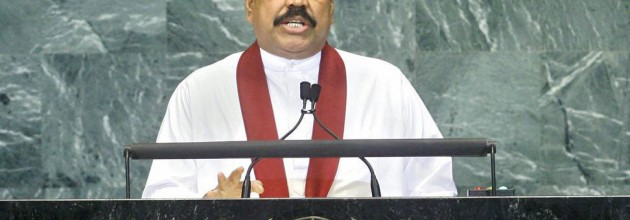 President Rajapakse speaks at the UN in 2011.