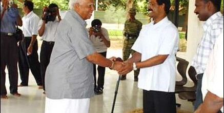 TNA leader R. Sampanthan meets the late Thamilselvan to discuss the peace process on May 13, 2003