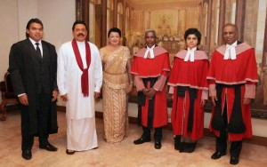 Namal Rajapakse (far left) with Dad, Mom and the Chief Justice (second from right)