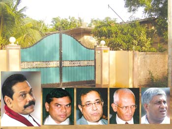 The purported office at Mill Road, Vavuniya as per the Cabinet Paper (inset) Mahinda Rajapakse, Basil Rajapakse, P.B. Jayasundera, Lalith Weeratunga, and Tiran Alles
