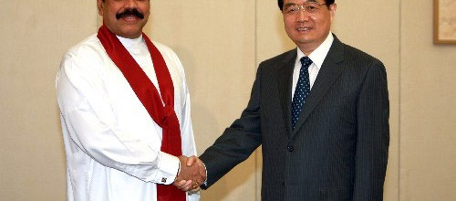 President Rajapakse of Sri Lanka with Chinese leader Hu Jintao