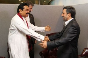ranian President Mahmoud Ahmadinejad (R) meets with his Sri Lankan counterpart Mahinda Rajapaksa on the sidelines of the UN General Assembly meeting in New York, September 21, 2011.