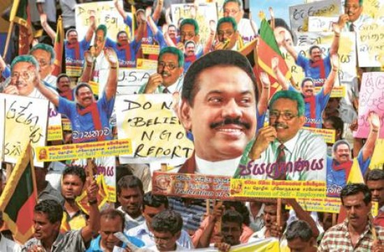 Supporters of Sri Lanka's President Mahinda Rajapakse during a government sponsored protest against a draft UN resolution on alleged human rights abuses in Colombo late February 2012. There were widespread reports by human rights groups of people allegedly being forced to participate in this protest.