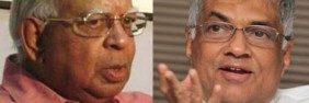 TNA leader Mr. Sambanthan and UNP leader Mr Ranil Wickremesinghe