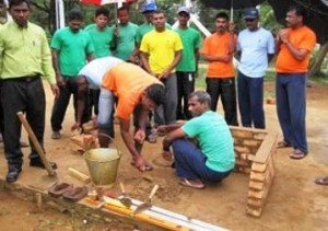 A group of former LTTE fighters learn masonry skills as part of the government's rehabilitation efforts. More than 10,000 men have gone through the programme  © Contributor/IRIN