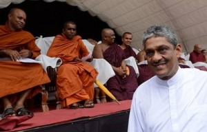 Sarath Fonseka at the rally in Colombo October 18, 2012. Photo taken from BBC