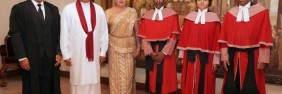 Mahinda Rajapaksa with First last Shiranthi and son Namal with current CJ. (File photo)