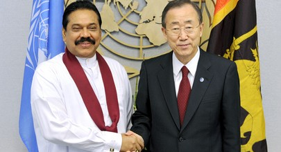 Ban Ki Moon with Mahinda Rajapakse