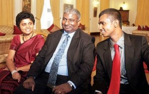 The ties that once bound: Chief Justice Shirani Bandaranayaka and family at Temple Trees in meetings with President Rajapaksa in happier times. (File photo)