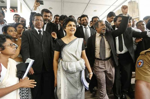 Chief Justice Shirani Bandaranayaka surrounded by her supporters