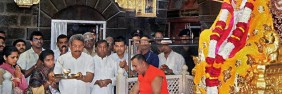 In reverence: Sri Lankan Defence Secretary Gotabaya Rajapaksa and his family members paying obeisance at Sai Baba temple in Shirdi on Sunday, February 5, 2012. Photo: PTI – courtesy: The Hindu