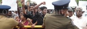 Hundreds of Tamil protesters were met with riot police and Sri Lankan security forces, at a demonstration on April 29, 2013 in Tellipalai against the Sri Lankan Army's seizing of private land in Valikaamam North in Jaffna