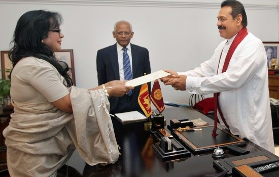 Court of Appeal Judge Mrs. Rohini Perera Marasinghe was sworn in as a Judge of the Supreme Court on April 26, 2013 by President at Temple Trees. Secretary to the president Lalith Weeratunga also in the picture