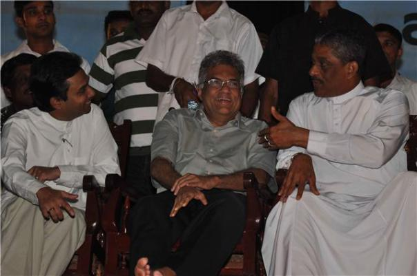 Mayantha (L) seen here with UNP Leader Ranil Wickremesinghe (M) and former army commander and common presidential candidate Major General Sarath Fonseka at a rally in Ampara before the 2010 hustings. At the time Mayantha who has moved parties over the years was at the time the SLFP District Organizer for Amapara. Photo shows Mayantha Dissanayake the son of late Gamini Dissanayake, extending his support to Opposition Common candidate General Sarath Fonseka during a rally in Ampara.