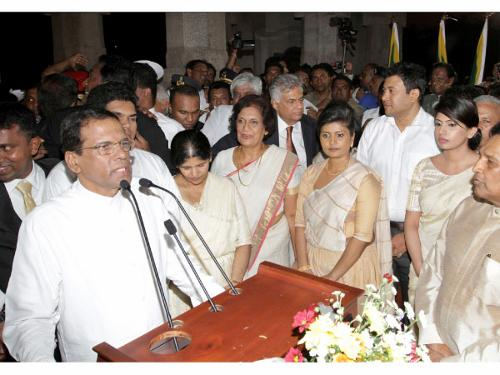 Former President Chandrika Kumaratunga, who also worked tirelessly in the opposition effort, seen here at the presidential swearing in ceremony on January 9th, 2015 at Independence Square