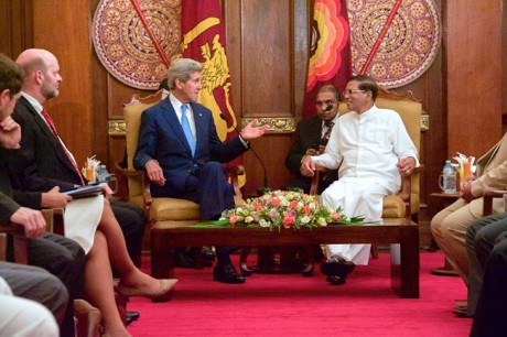 Kerry and prsident Sirisena