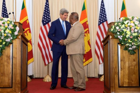 Secretary of State John Kerry with his counterpart Foreign Minister Mangala Samaraweera